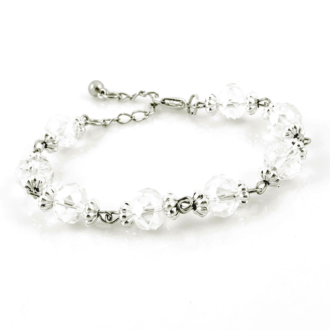 Woman Clear Plastic Crystal Decor Adjusting Metal Chain Bracelet