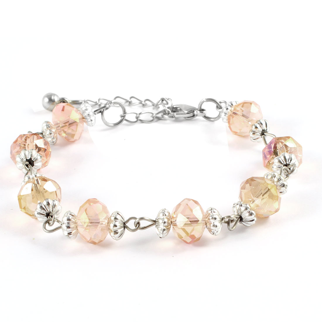 Beige Faceted Faux Crystal Beaded Metal Chain Wrist Bracelet for Lady