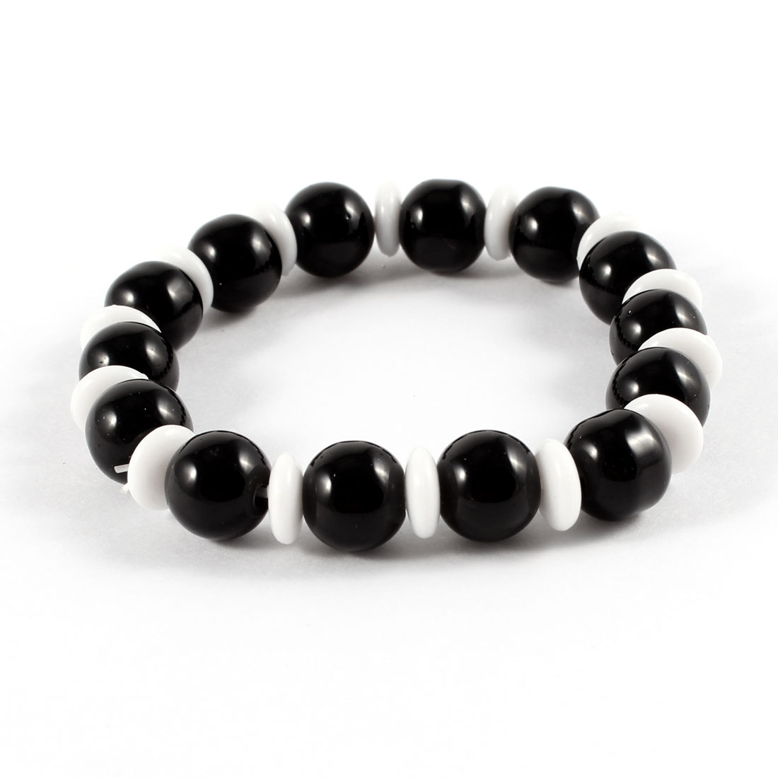 Black White Round Beads Decor Elastic String Bracelet for Woman