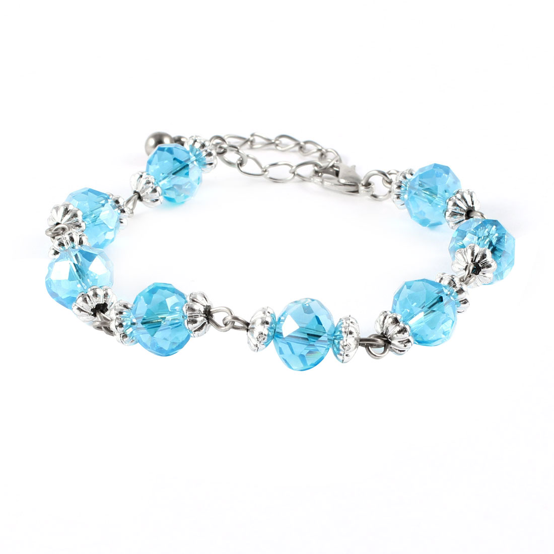 Blue Plastic Crystal Adjustable Bracelet Bangle for Lady Woman