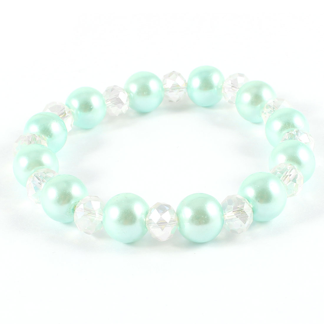Girl Clear Pale Green Faceted Faux Crystal Beaded Elastic Wrist Bracelet