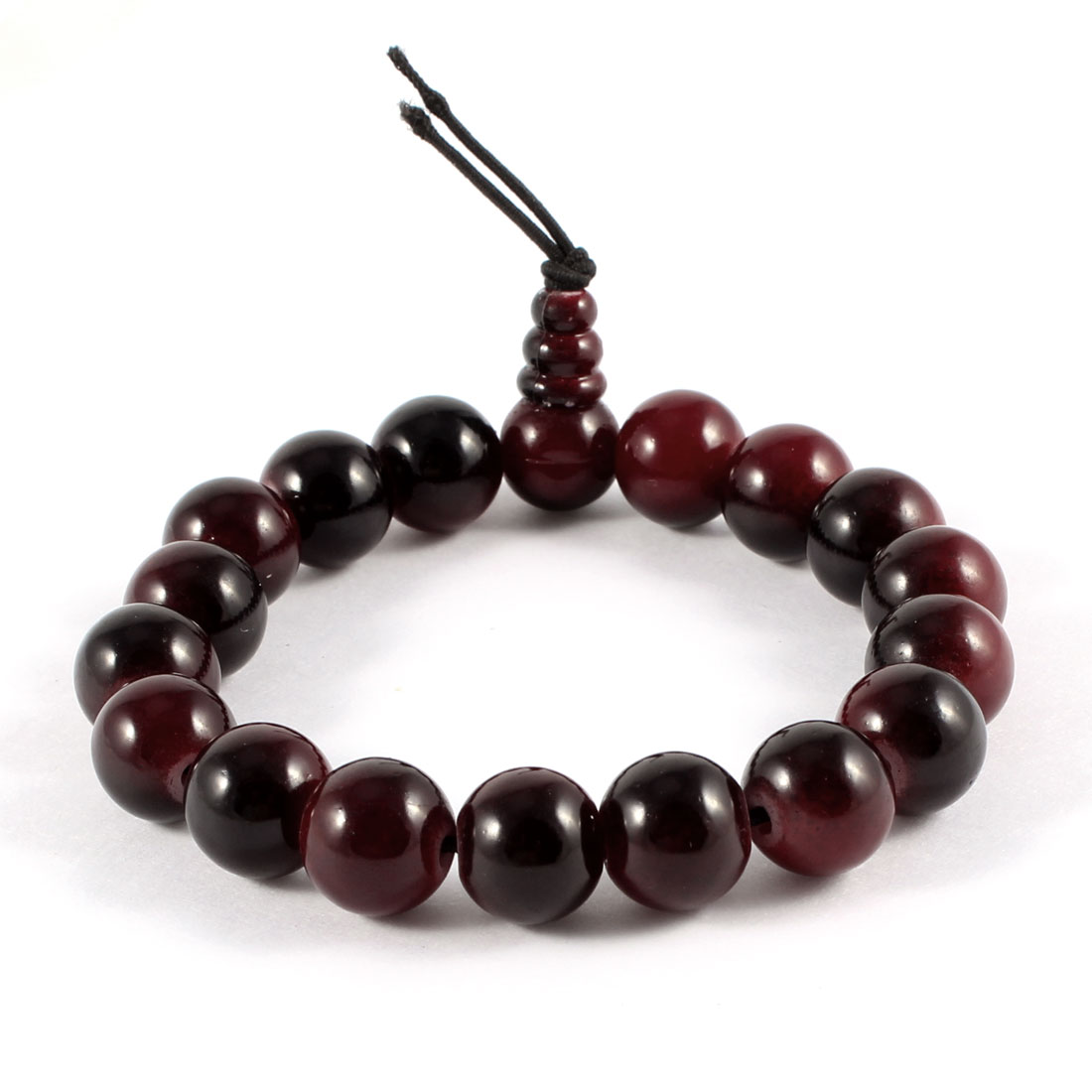 Plastic 15cm Girth Black Red Round Bead Linked Bracelet for Lady
