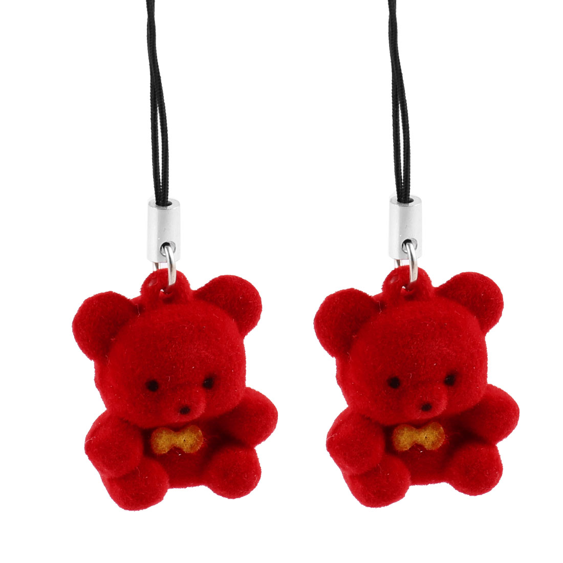 Red Bear Pendant Mobile Phone Strap String Hanging Decoration 2 Pcs