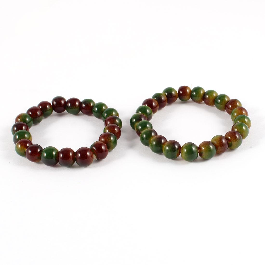 2 Pcs Flexible Plastic Bead Decor Wrist Band Bracelet Bangle Green Brown