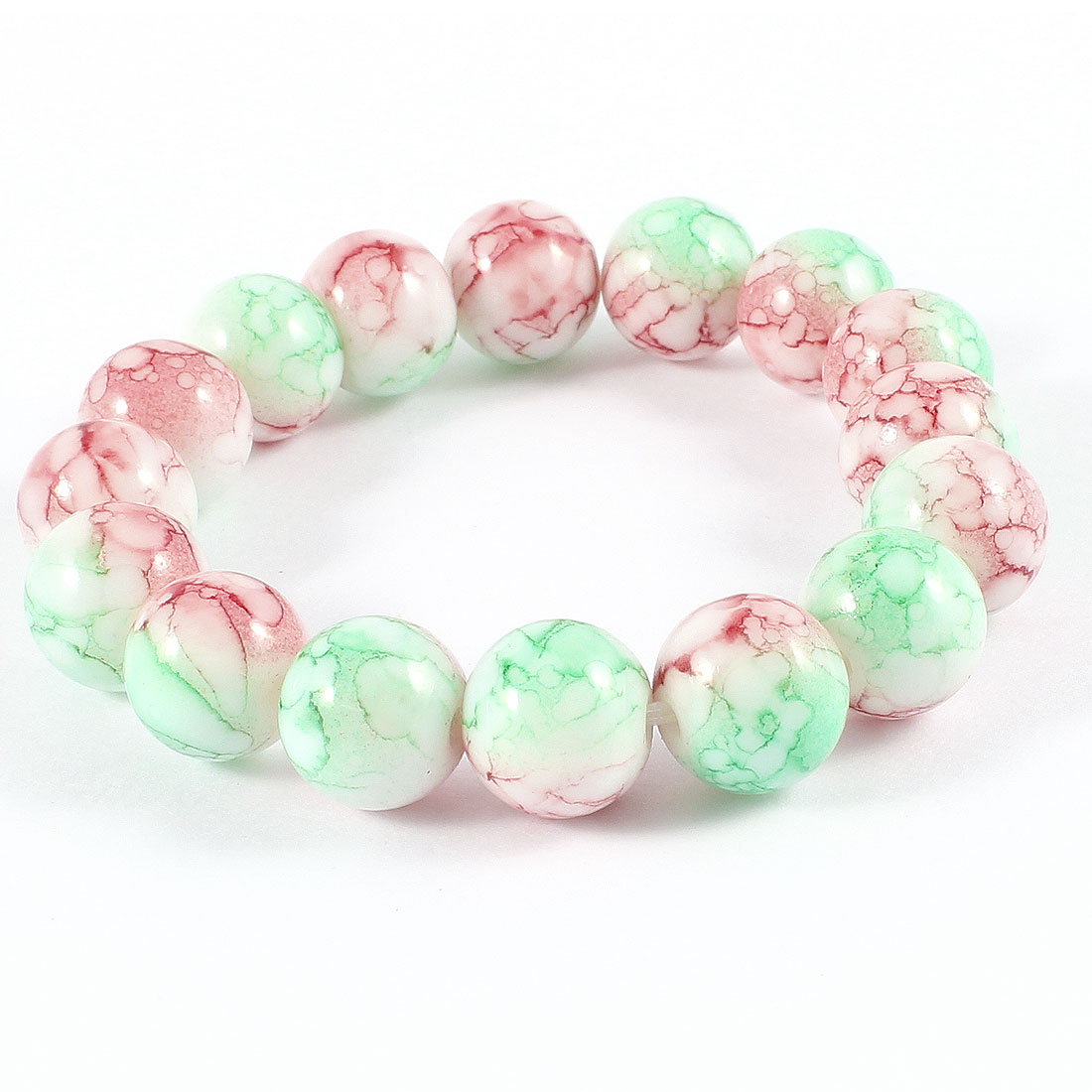 Lady Crack Pattern Light Green Red Plastic Beaded Stretch Bracelet