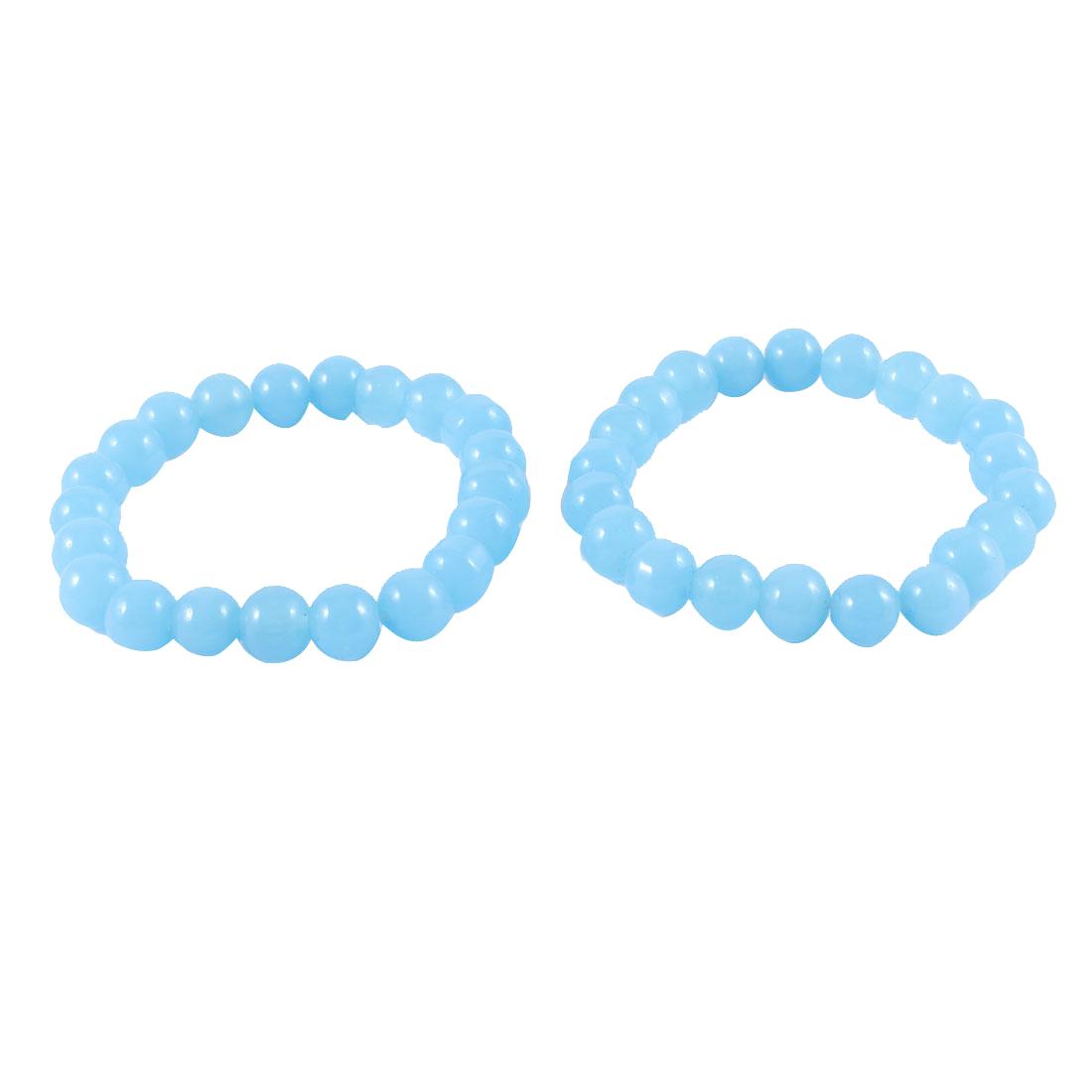 2 Pcs Lady 8 mm Dia Blue Round Plastic Beads Decor Elastic Bracelet