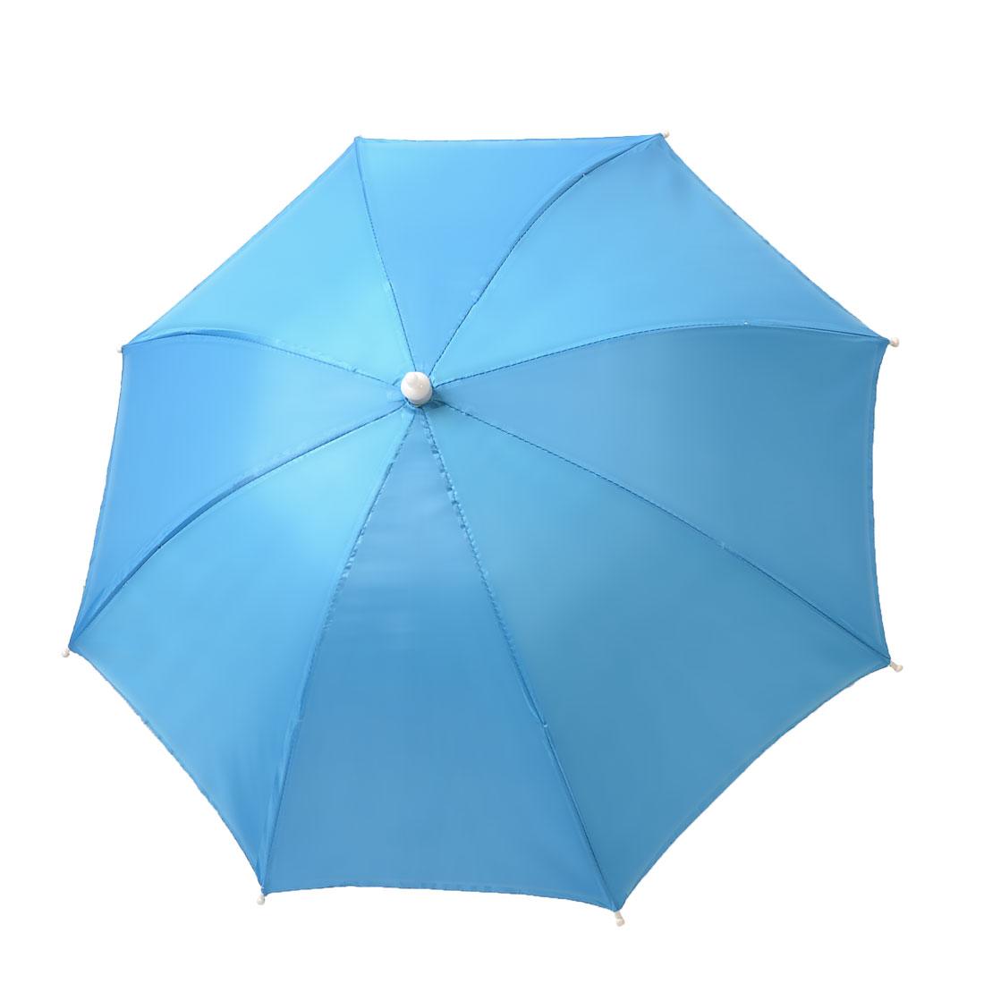 Fishing Light Blue Silver Gray Elastic Headband Handsfree Folding Umbrella Hat
