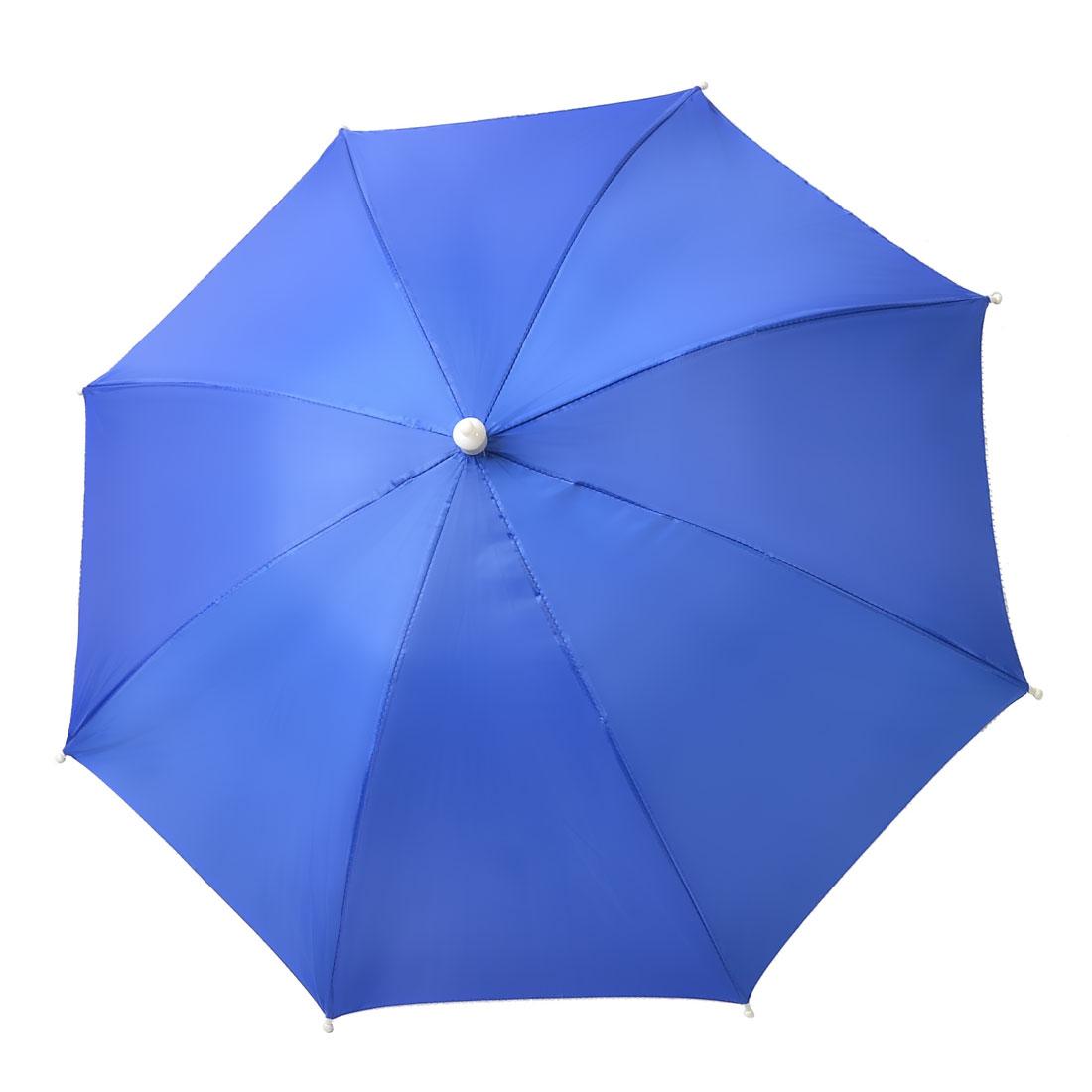 Blue Silver Gray Stretchy Headband Handsfree Folding Umbrella Hat for Fishing