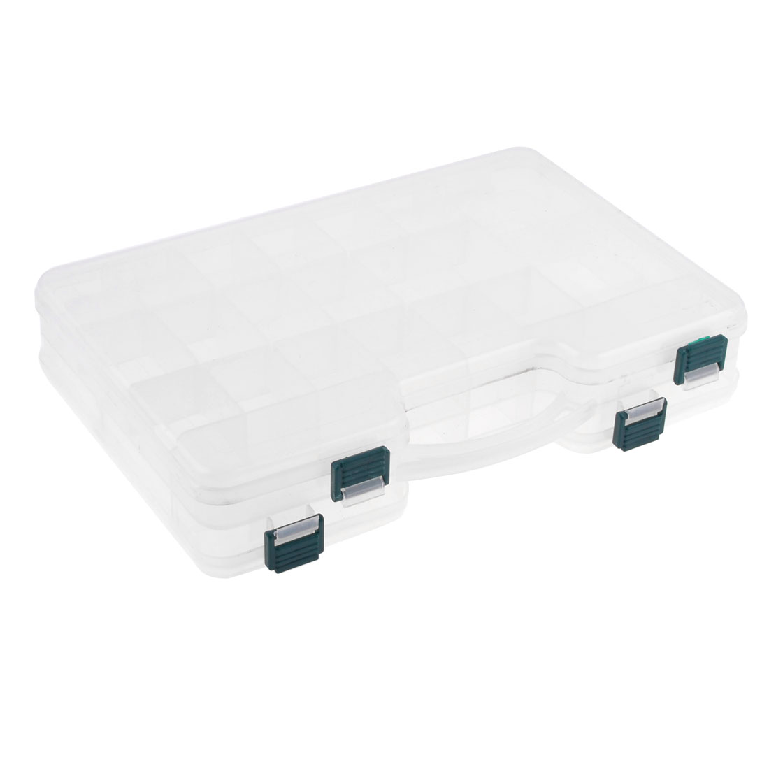 Clear Two Layers 44 Compartments Plastic Fishing Tackle Hook Case Box