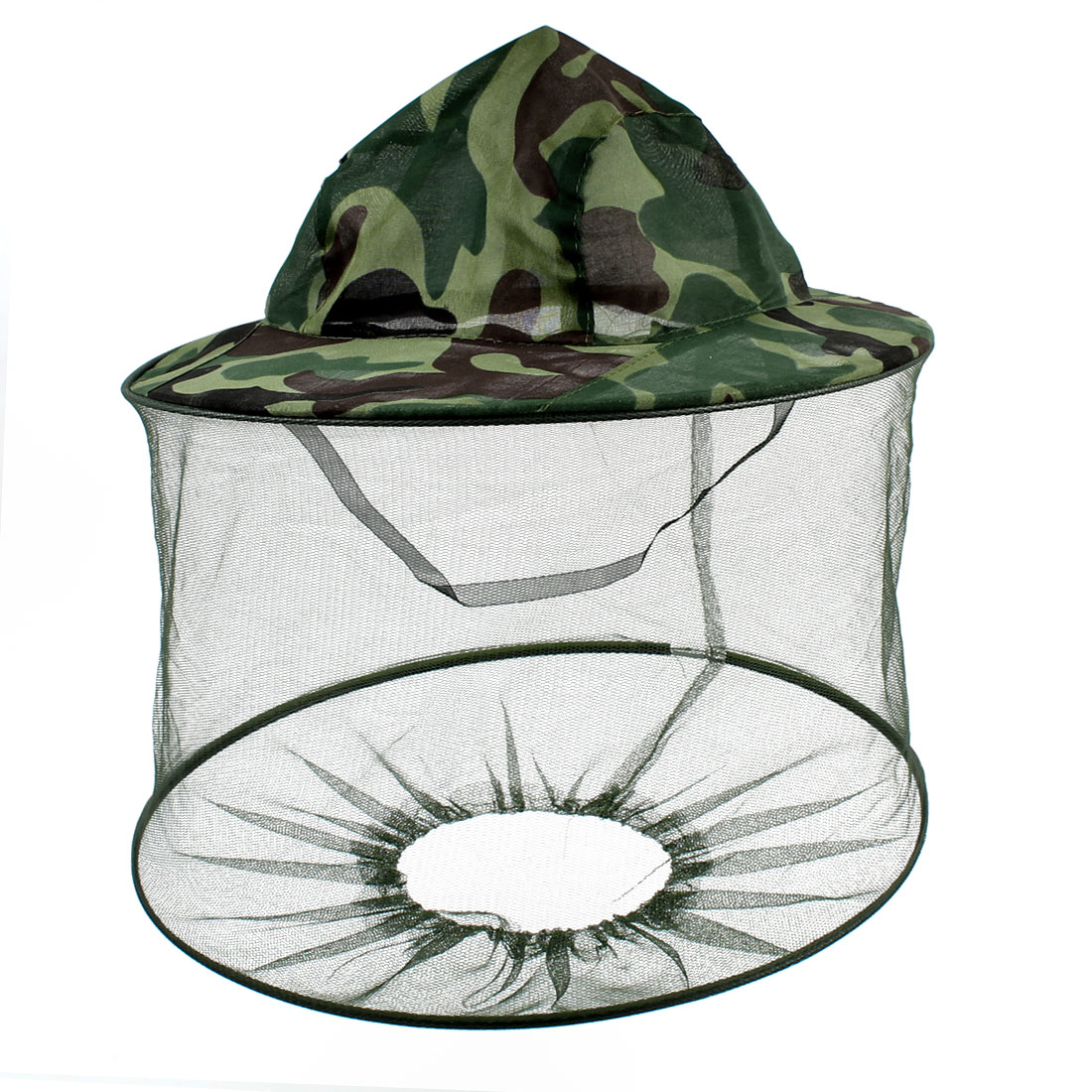 Camouflage Pattern Mesh Veil Hood Anti Fly Insect Mosquito Fishing Hat Army Green
