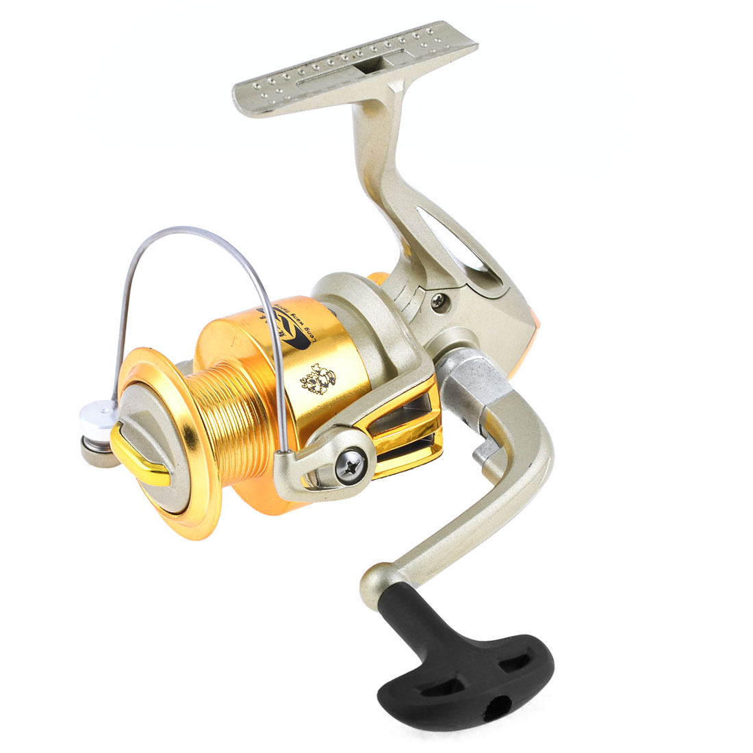 5.5:1 Gear Ratio 5 Ball Bearings Folding Fishing Spinning Reel Champagne Gold Tone