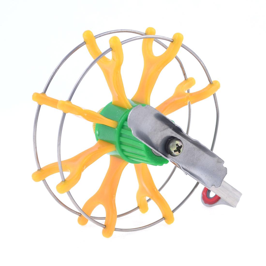 "Yellow Green Plastic Silver Tone Metal Fish Fly Wheel Fishing Reel 3.9"" Dia"