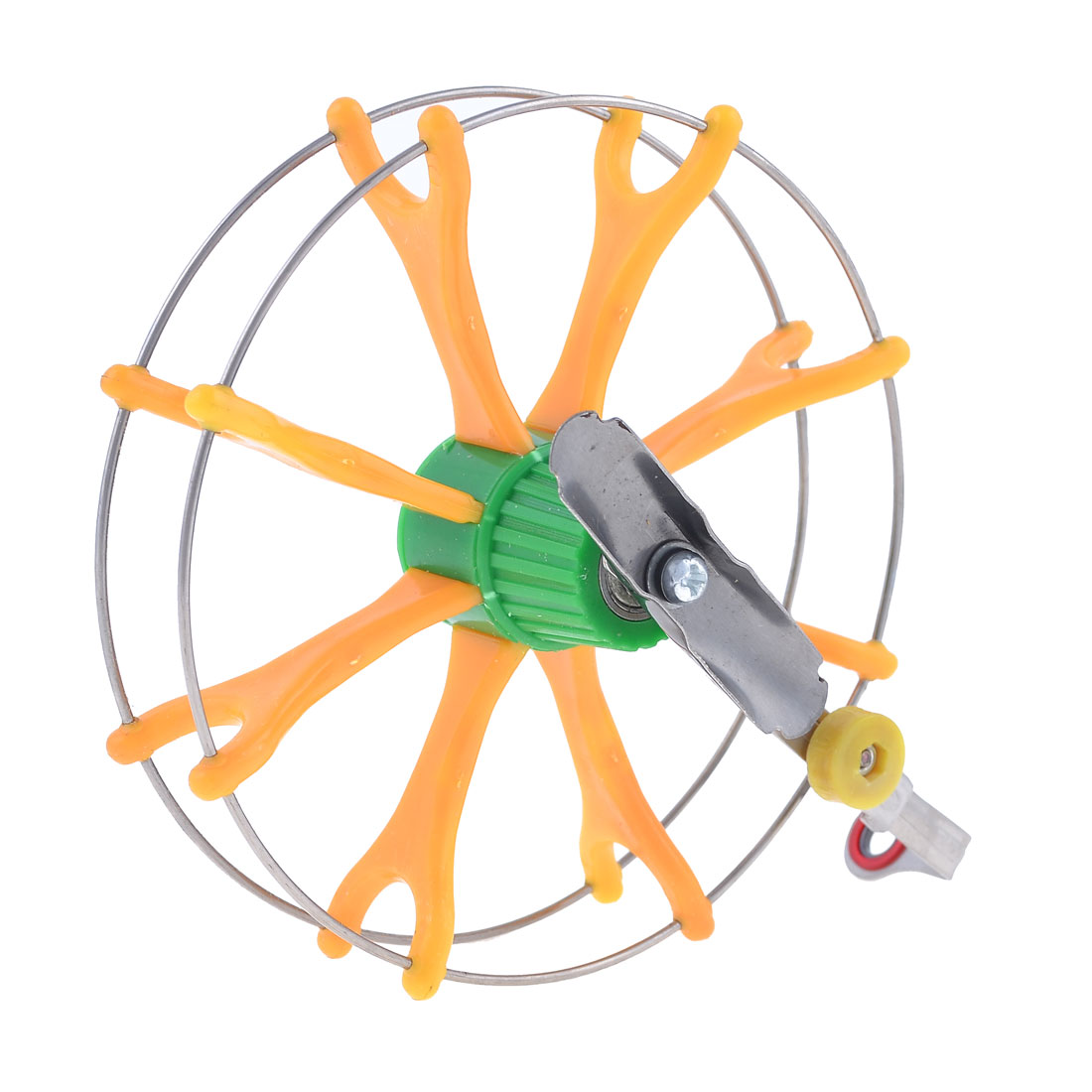 "Yellow Green Plastic Silver Tone Metal Fish Fly Wheel Fishing Reel 5.5"" Dia"