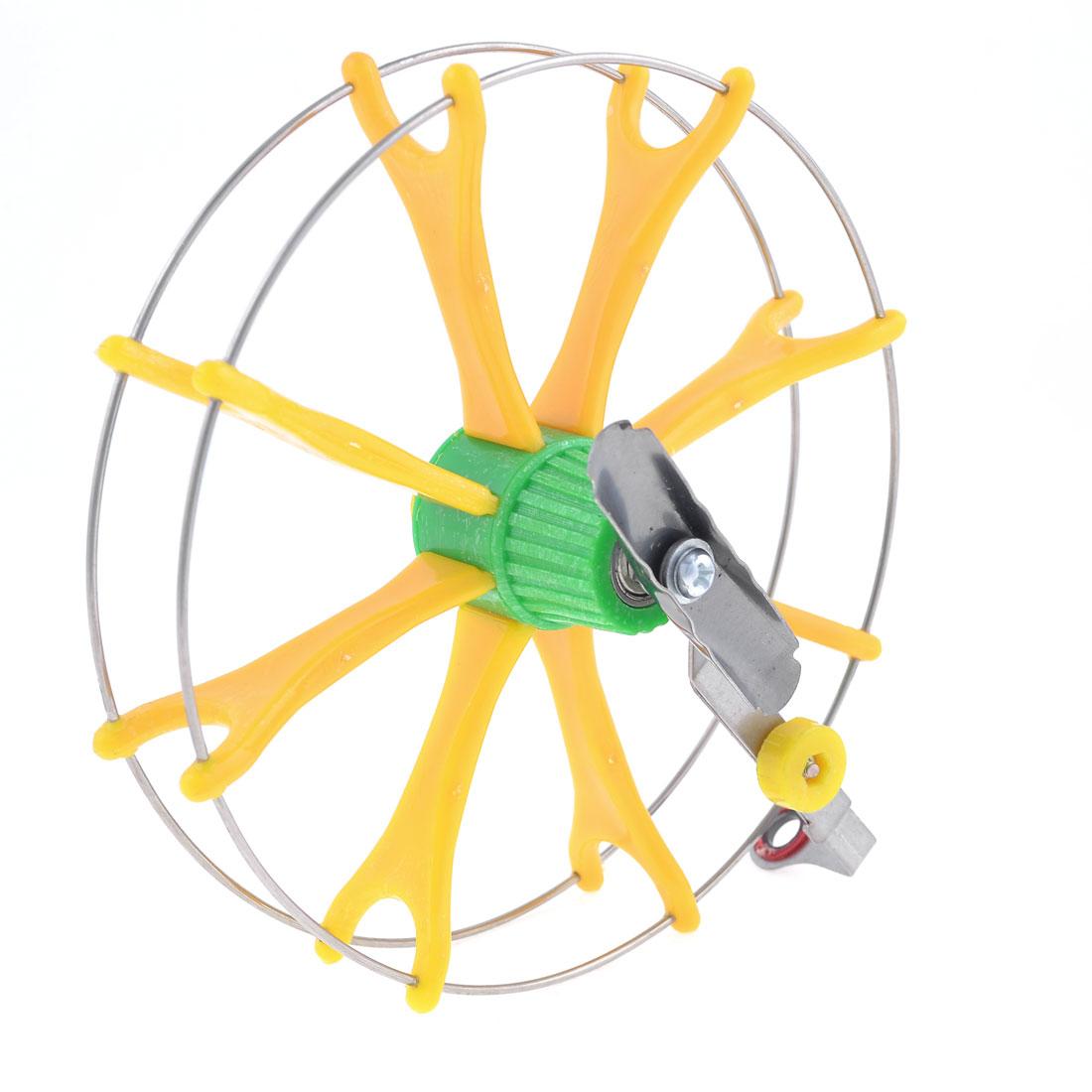 "Yellow Green Plastic Silver Tone Metal Fish Fly Wheel Fishing Reel 6.3"" Dia"