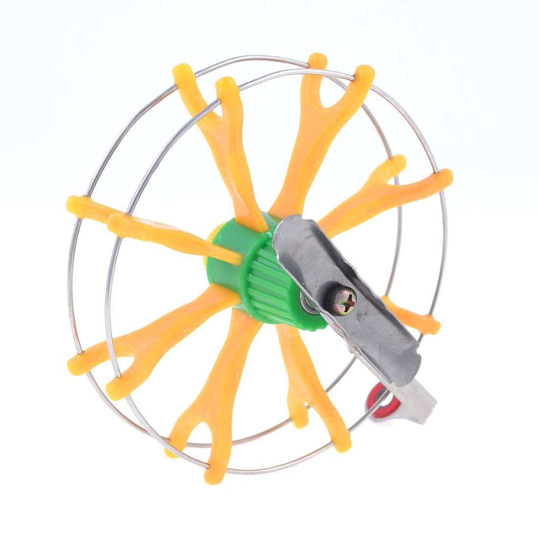 "Yellow Green Plastic Silver Tone Metal Fish Fly Wheel Fishing Reel 4.7"" Dia"