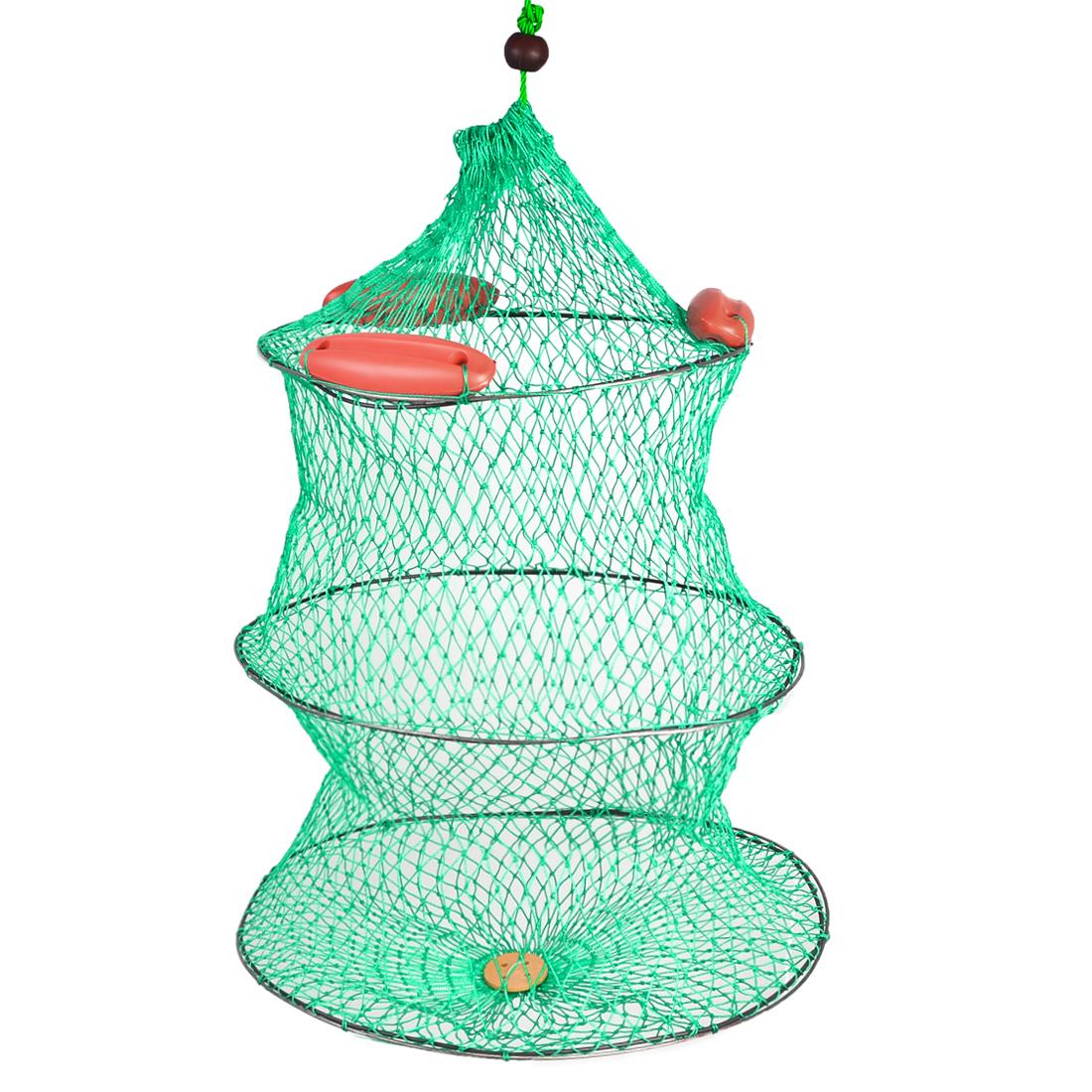 Green Drawstring Closure Shrimp Crab 2 Layers Fishing Net