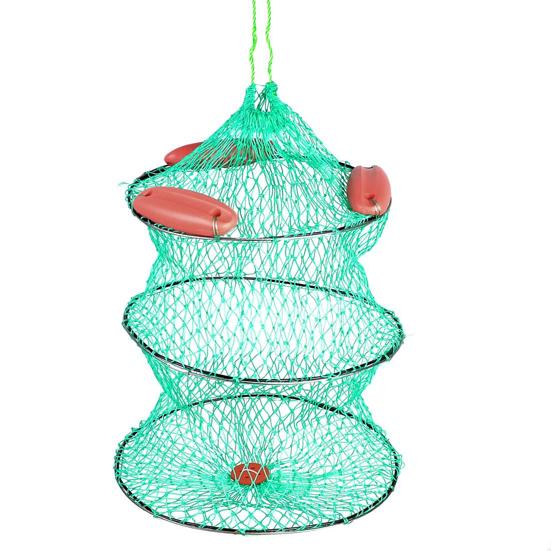 34cm Dai Green Drawstring Closure Shrimp Crab 2 Layers Fishing Net