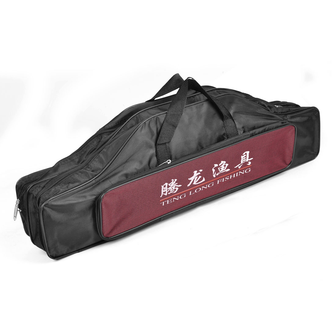 70cm Length Zippered 3 Compartment Nylon Angling Fishing Rod Pole Bag Black Red