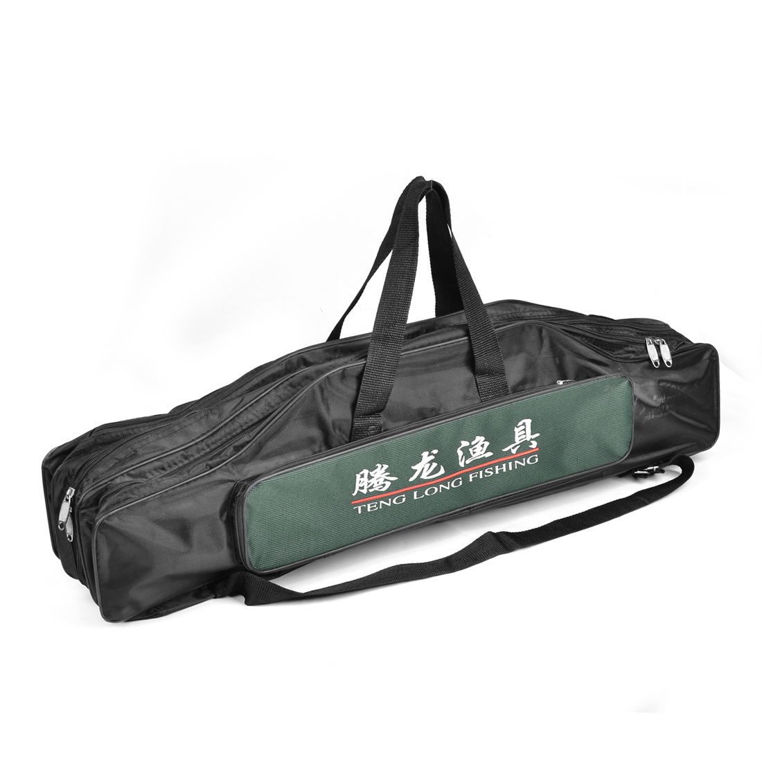 80cm Zippered 5 Compartment Nylon Angling Fishing Rod Pole Bag Black Green
