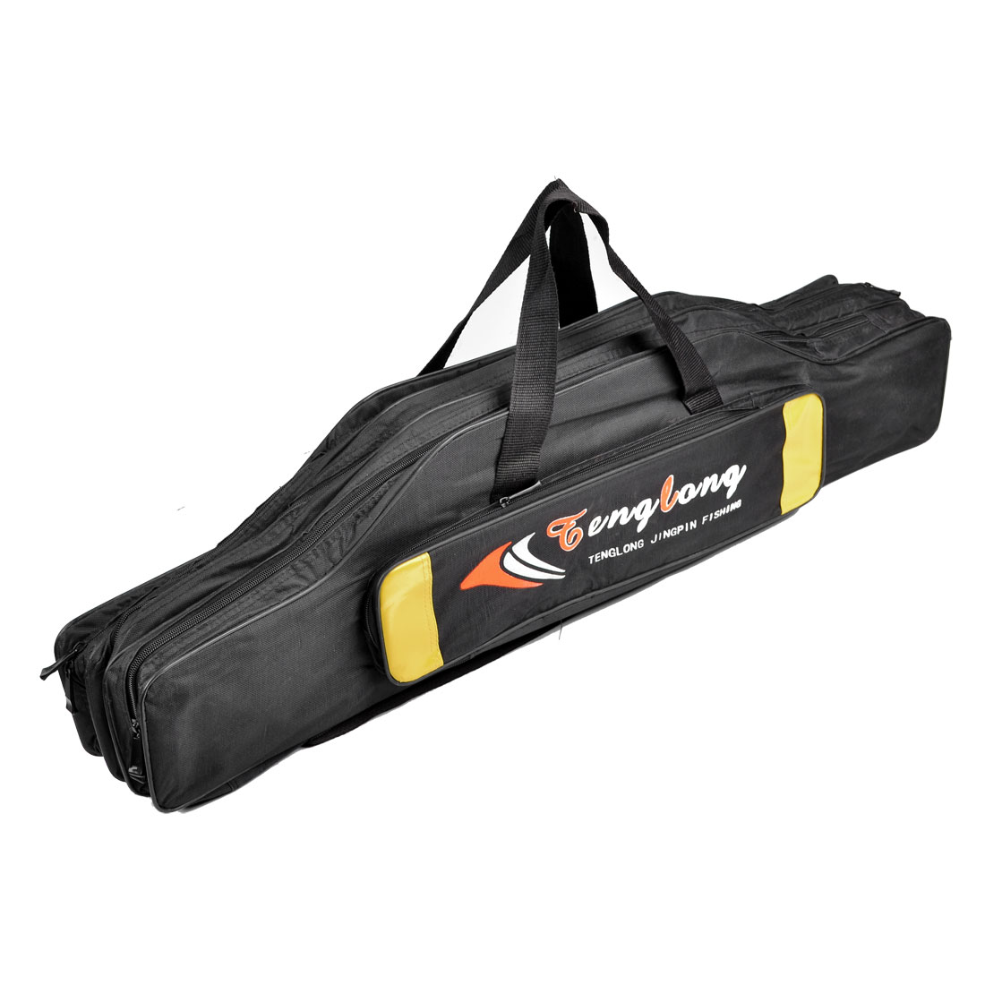 90cm Length Zippered 5 Compartment Nylon Angling Fishing Rod Pole Bag Black