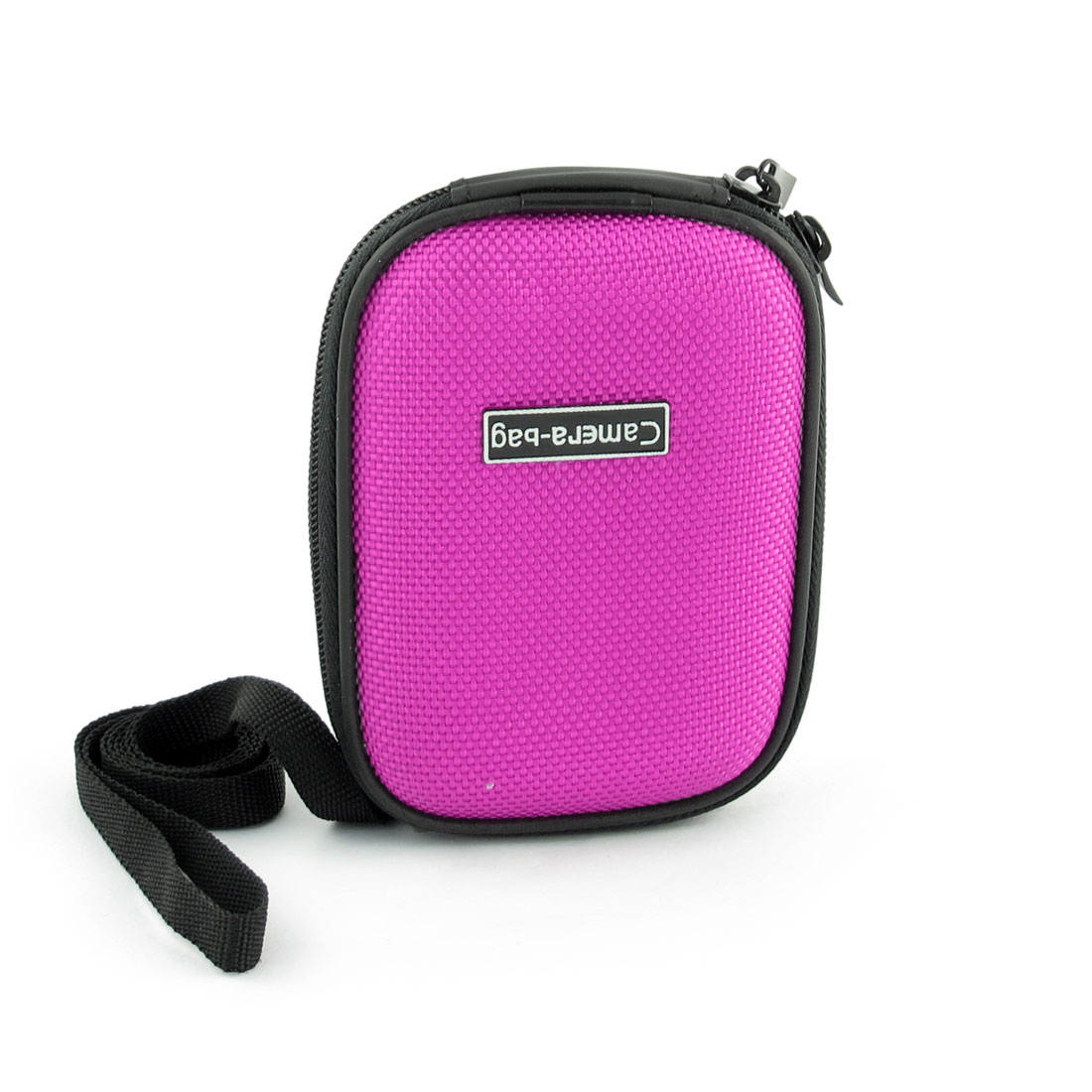 Fuchsia Black Zipper Closure Camera Bag Case w Detachable Strap