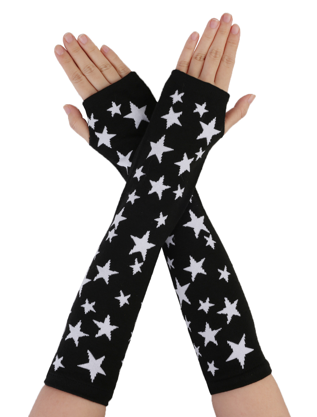 Pair Lady White Stars Print Black Knitted Elastic Arm Warmers Gloves