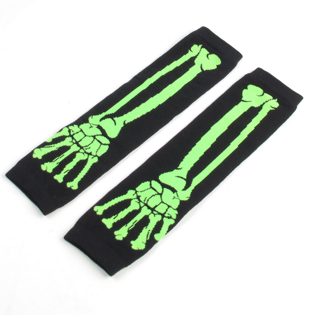 Pair Ladies Light Green Skeleton Hand Print Black Knitted Arm Warmers Gloves