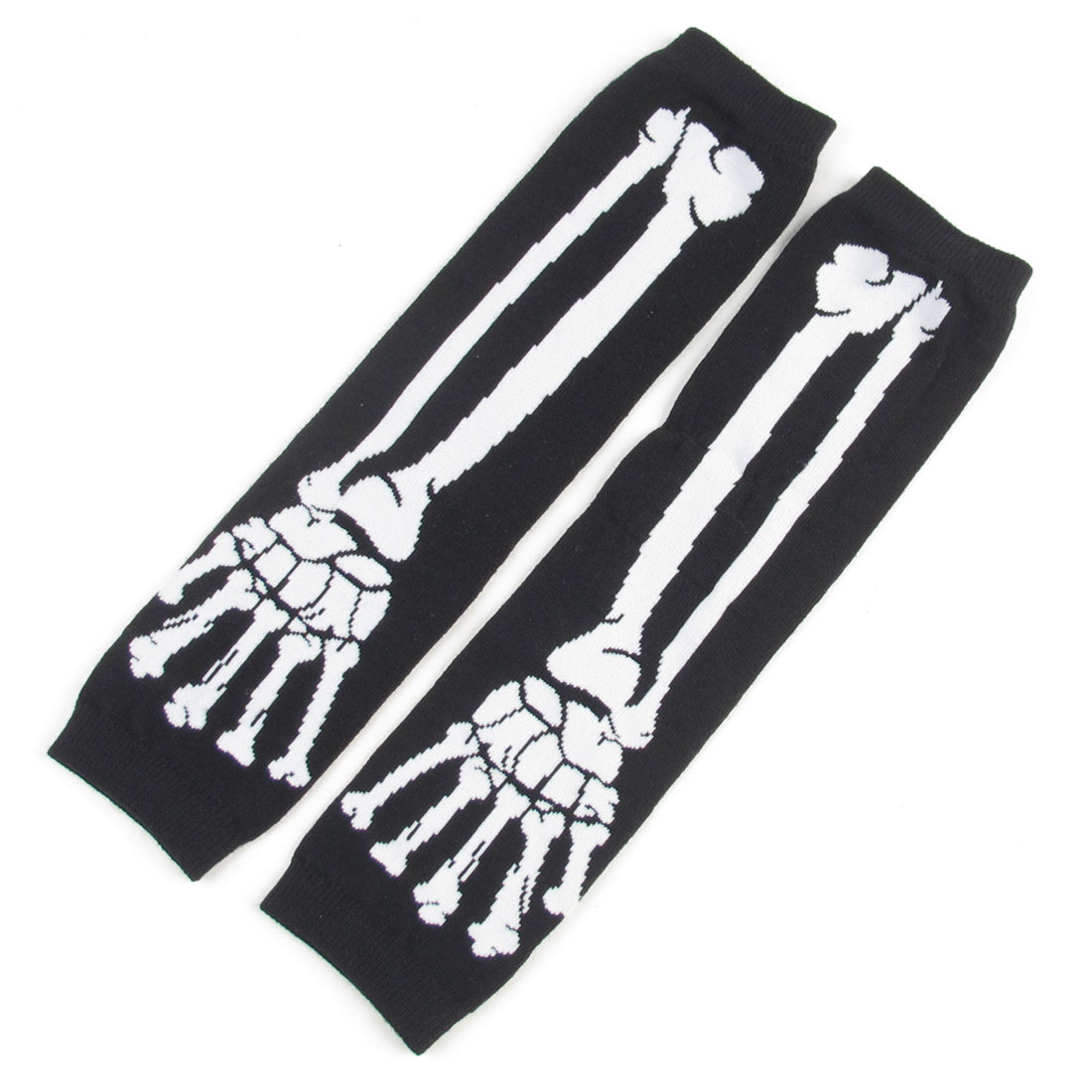 Pair Ladies White Skeleton Hand Print Black Knitted Arm Warmers Gloves