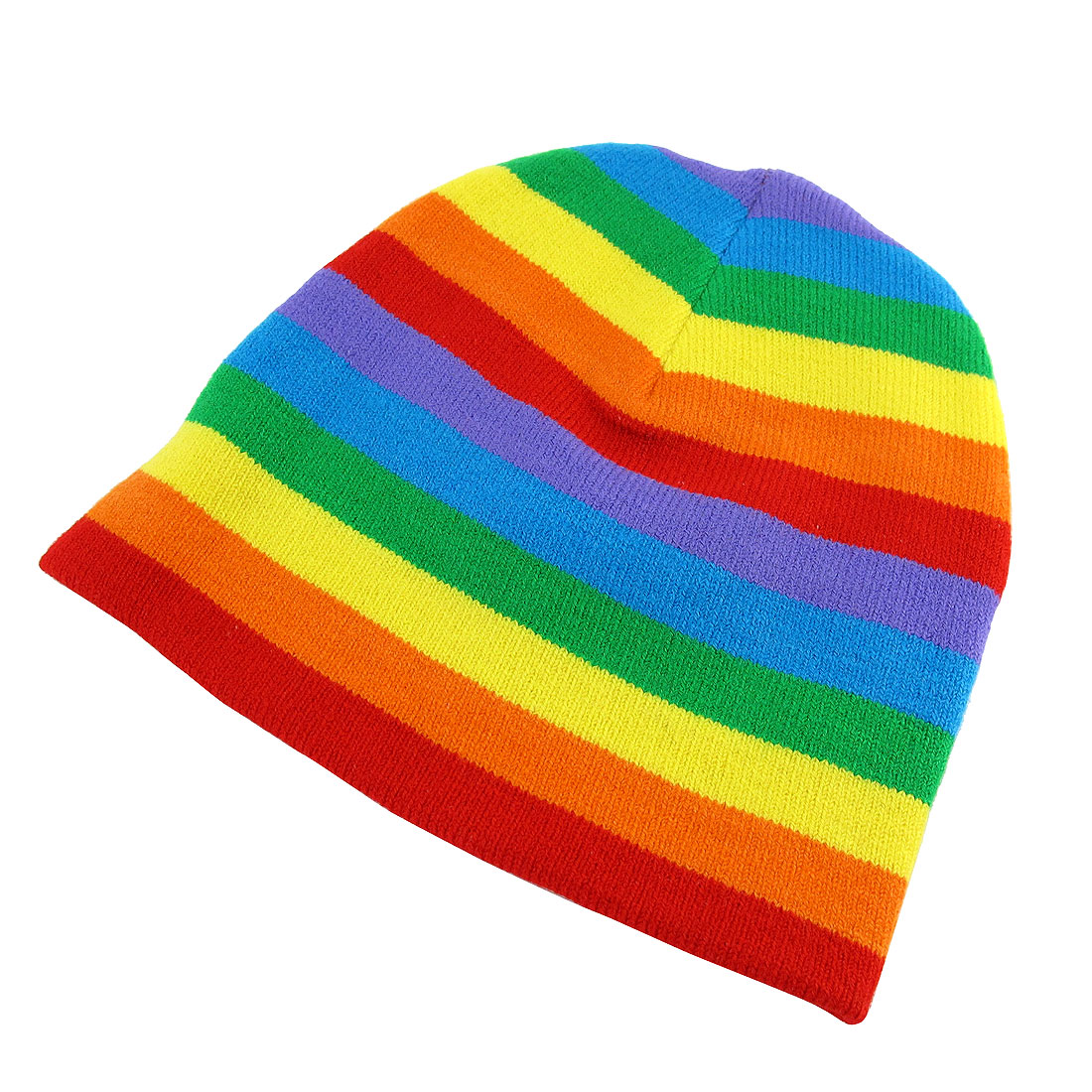 Rainbow Stripes Print Knitted Elastic Skull Beanie Hat for Ladies