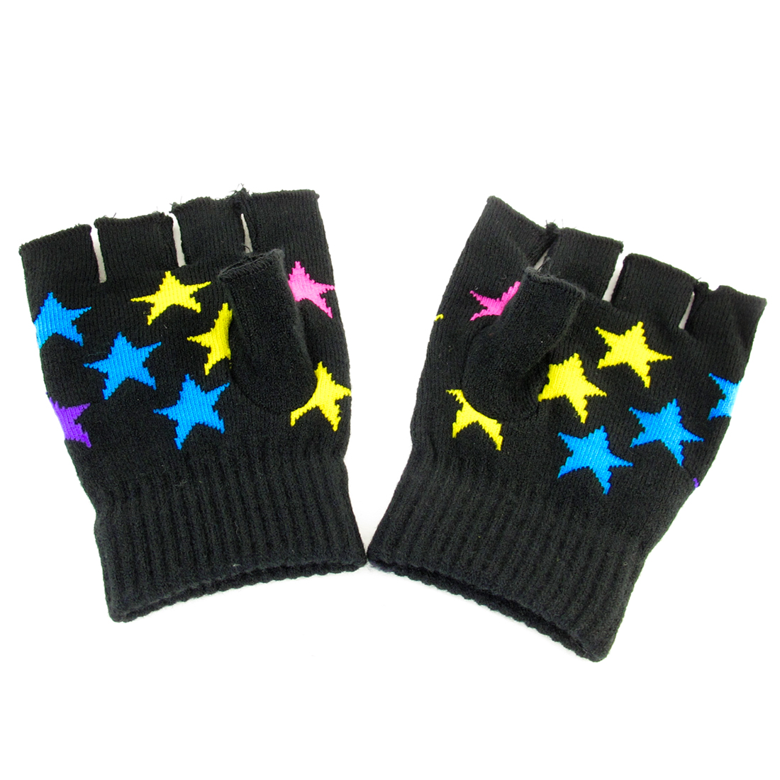 Pair Women Yellow Pink Stars Print Black Knitted Elastic Half Finger Gloves