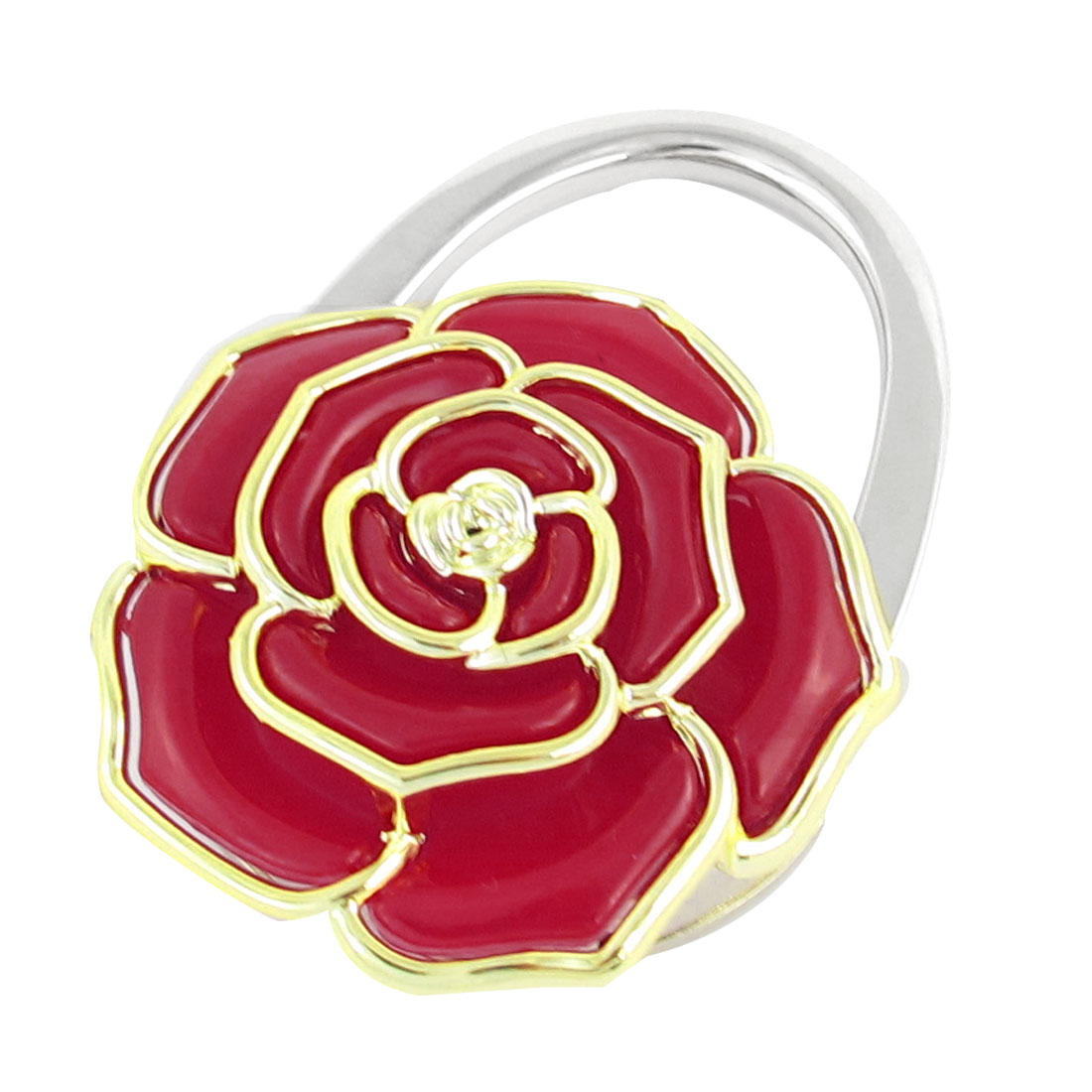 Red Gold Tone Rose Decor Foldable Purse Handbag Hook Decoration for Lady