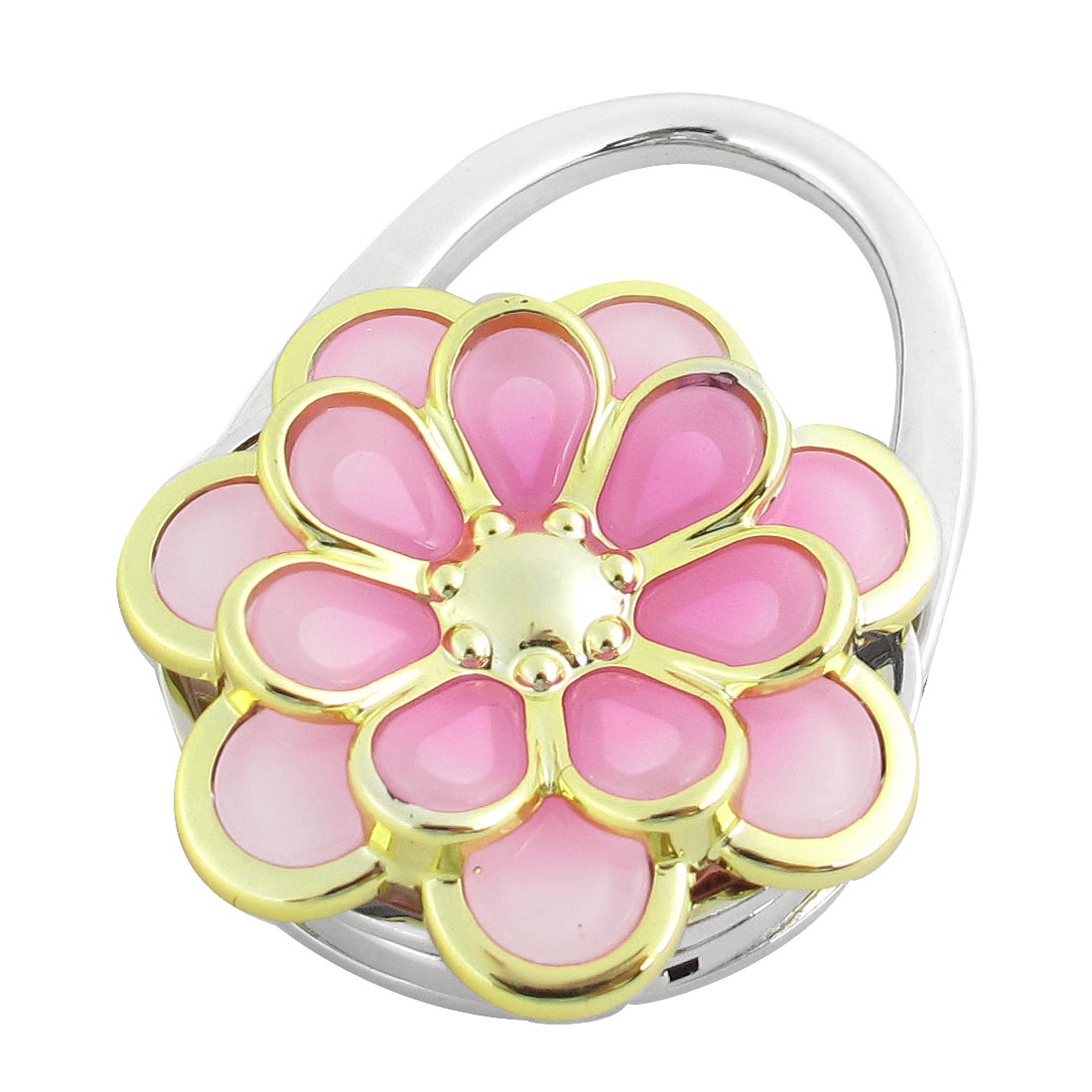 Pink Gold Tone Flower Decor Foldable Purse Handbag Hook Decoration for Lady