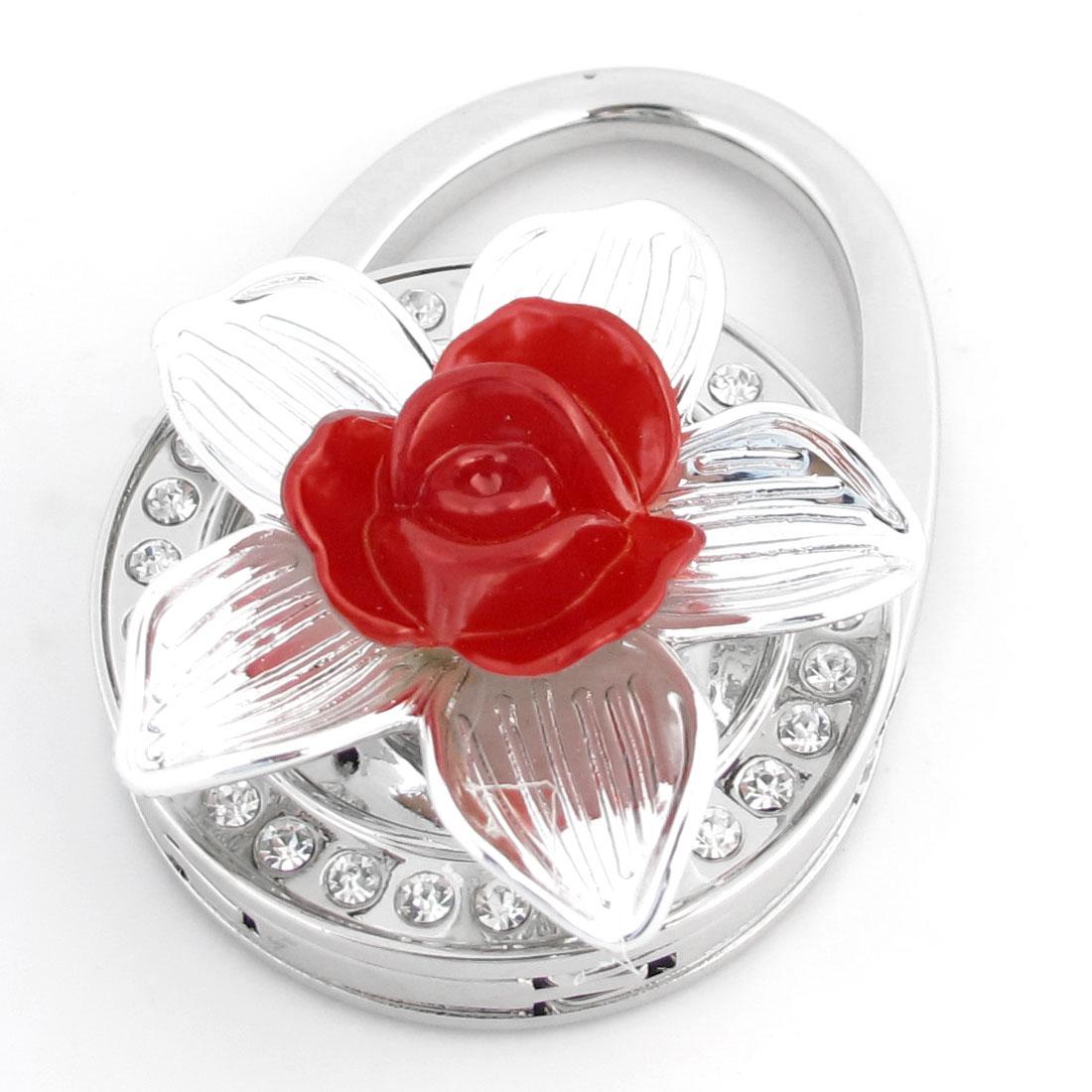 Red Flower Decor Rhinestone Inlaid Foldable Purse Handbag Hook Hanger for Lady