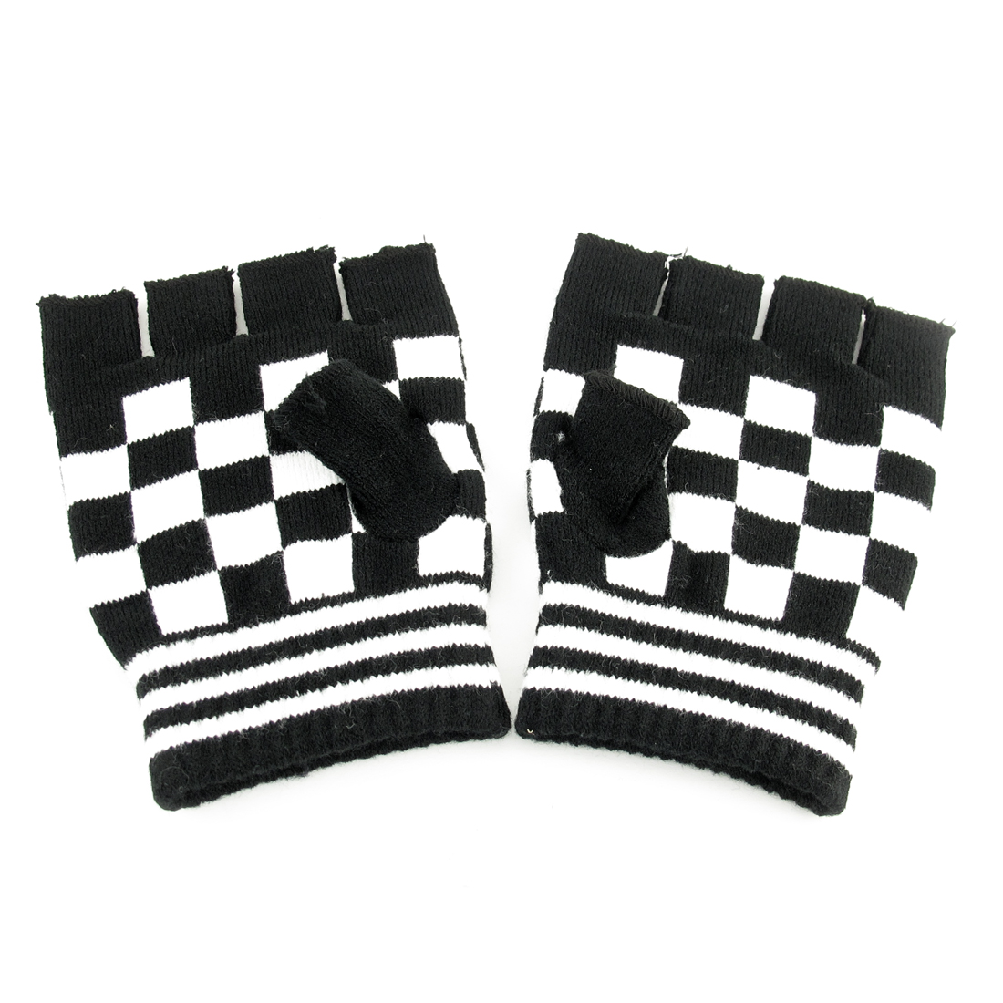 Pair Women Checkers Print Black White Knitted Elastic Half Finger Gloves