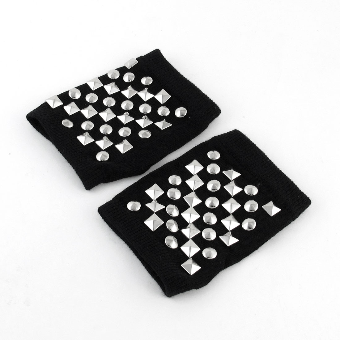 Pair Silver Tone Spike Stud Decor Black Knitted Stretchy Fingerless Gloves