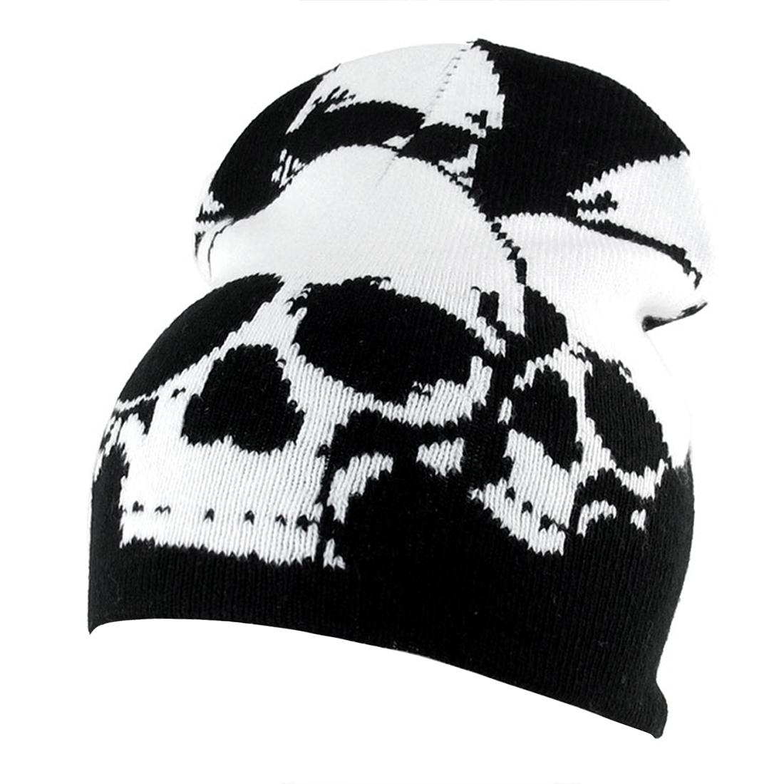 White Skull Head Print Black Knitted Elastic Skull Beanie Hat for Ladies