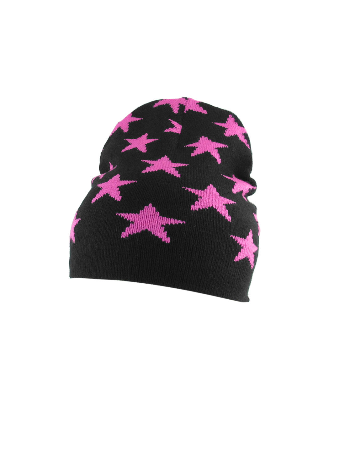 Pink Stars Print Black Knitted Elastic Skull Beanie Hat for Ladies