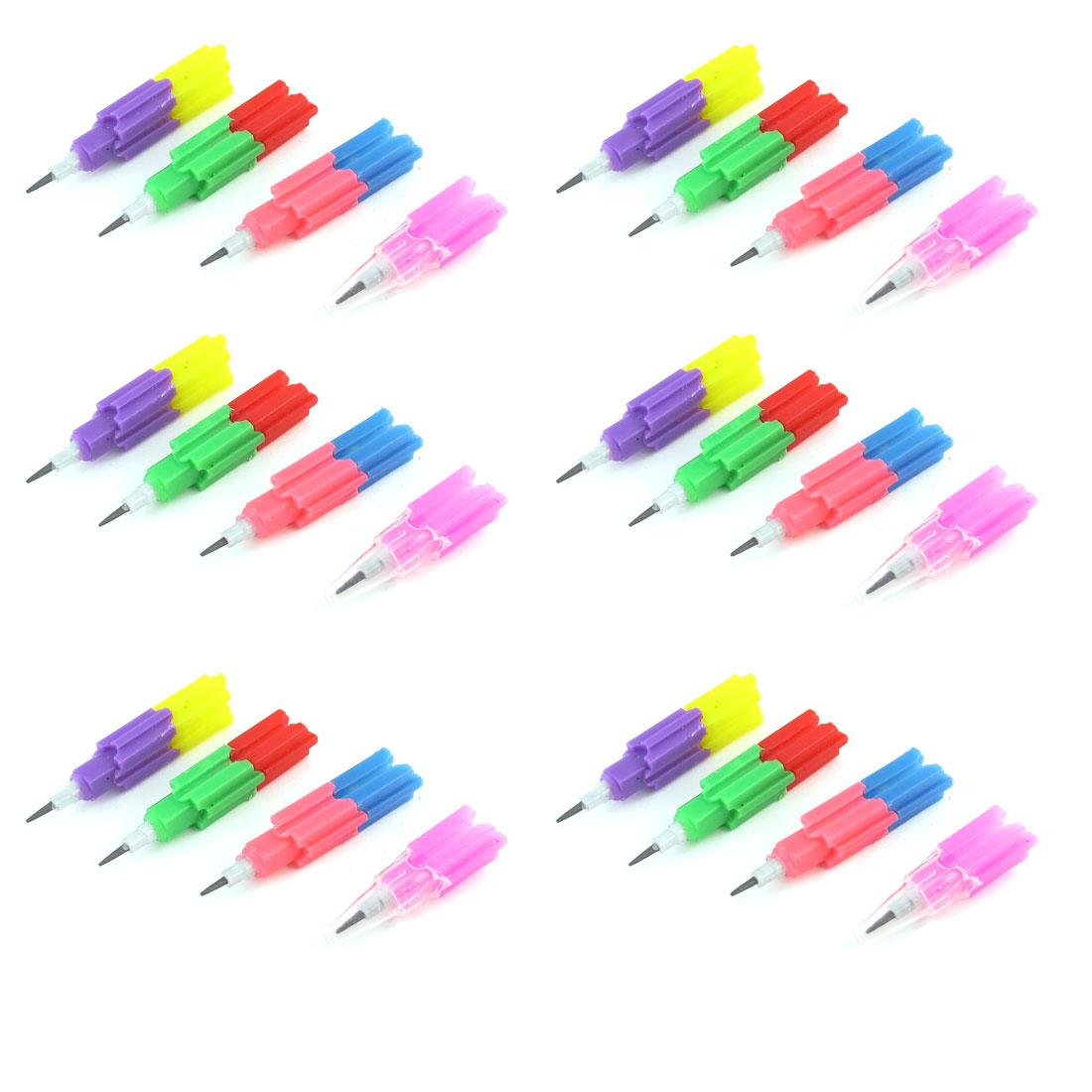 42 Pcs Pink Red Green Plastic Bricks Block Design Mini Pencils Toy for Kids