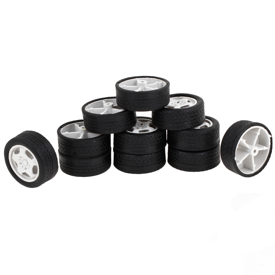 11PCS 34mm Dia Black Rubber Roll White Plastic Core Kids Toy Vehicles Car Wheels