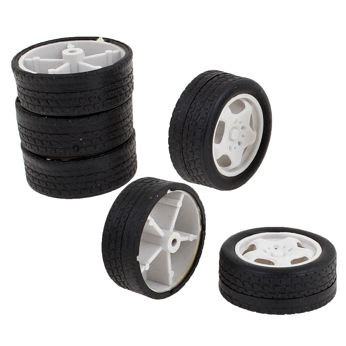 6PCS 34mm Dia Black Rubber Roll White Plastic Core Toy Vehicles Wheels for Kids