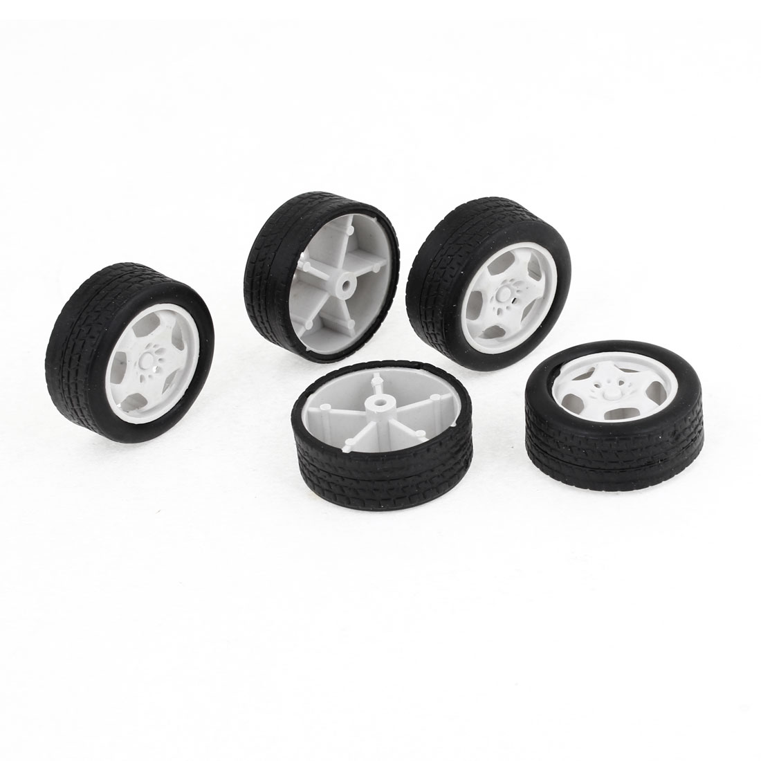 5 Pieces Repairing Part 34mm Dia Rubber Roll Plastic Core Toy Car Truck Wheels