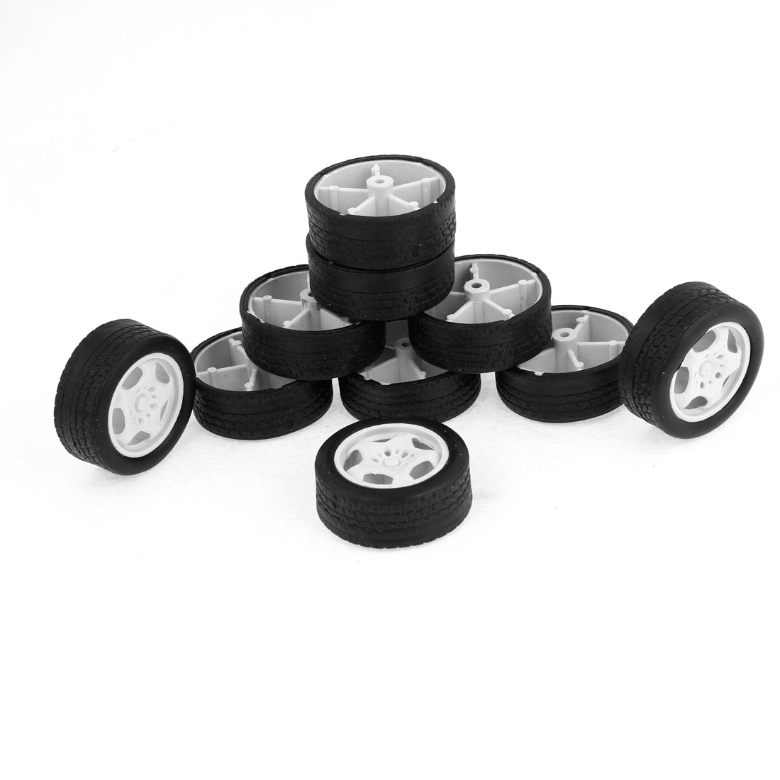 10 Pieces Repairing Part 34mm Dia Rubber Roll Plastic Core Toy Car Truck Wheels