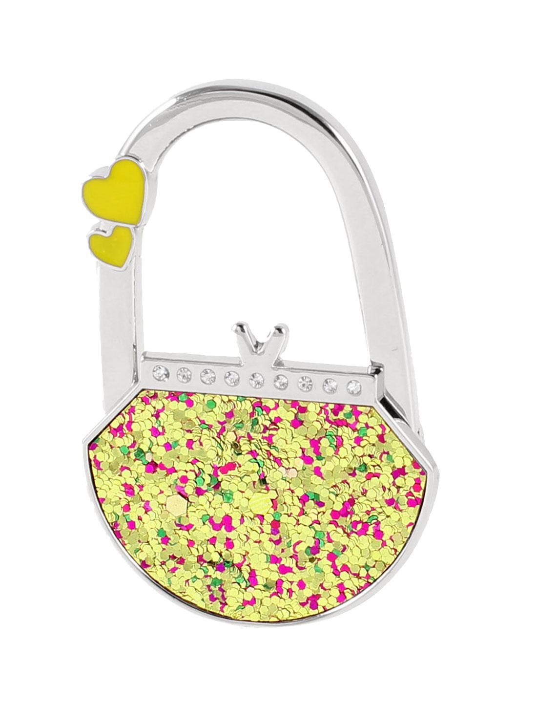 Glitter Sequins Rhinestones Decor Folded Purse Handbag Hook Hanger Silver Tone