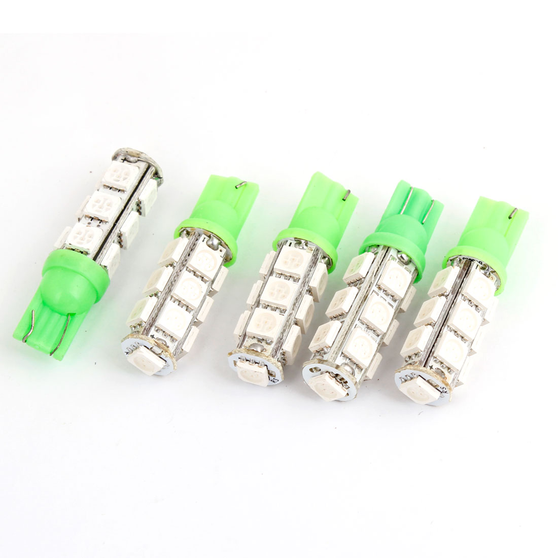 T10 194 168 W5W Green 5050 13-SMD LED Car Light Lamp Bulbs 12V 5pcs