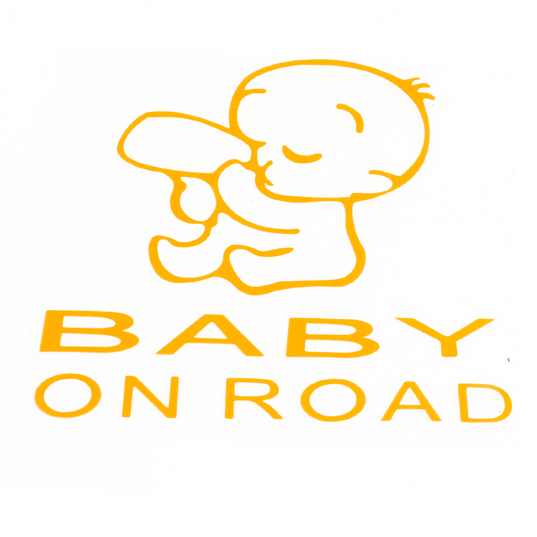 Baby on Road Printed Safety Sign Self Adhesive Decal Sticker Yellow for Car