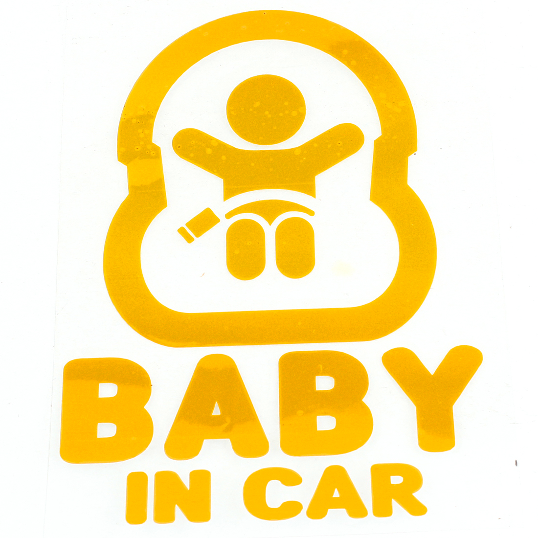 Baby in Car Printed Safety Sign Self Adhesive Decal Sticker Yellow for Car