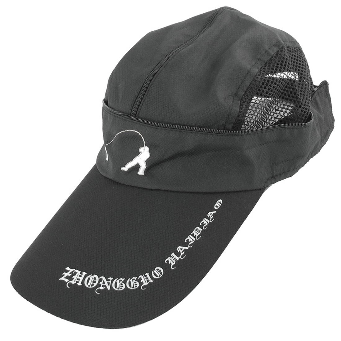 Outdoors Sports Adjustabe Black Polyester Baseball Cap for Men Women