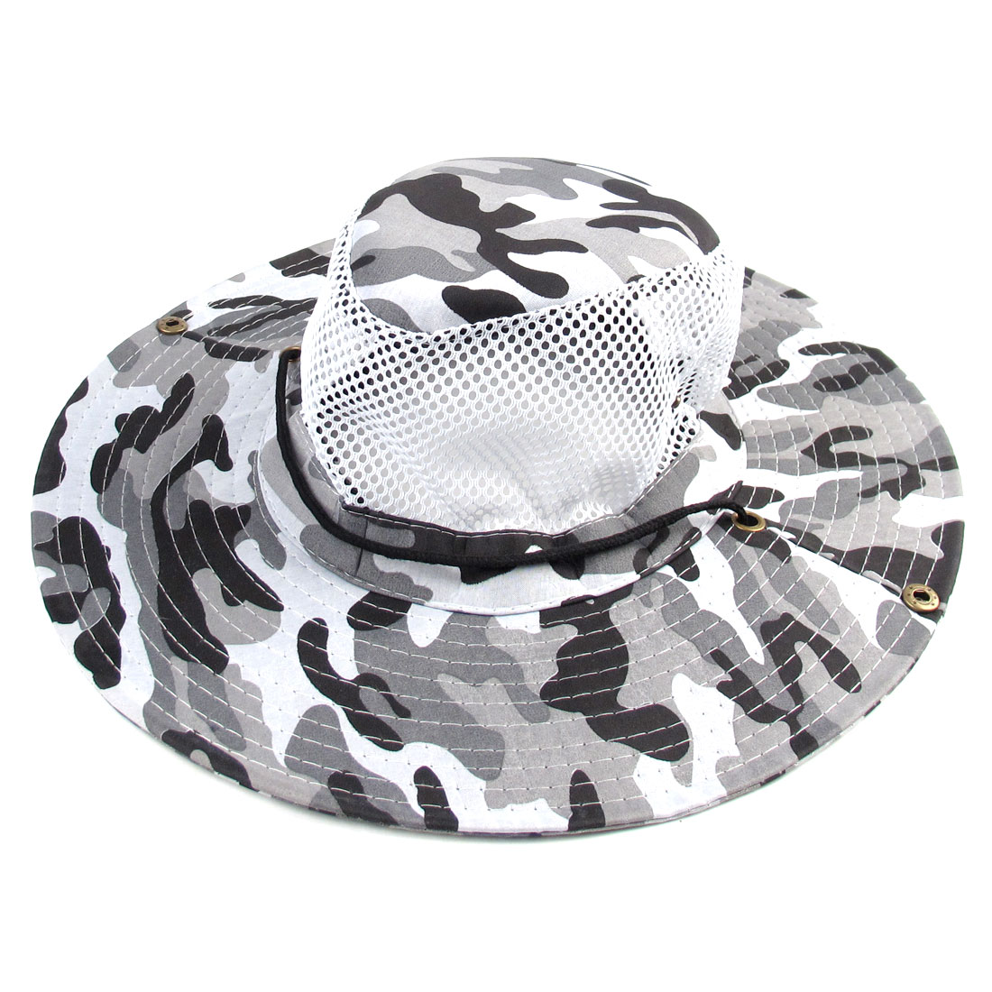 Outdoor Hiking Fishing Wide Brim Black Gray Camouflage Sun Hat for Men