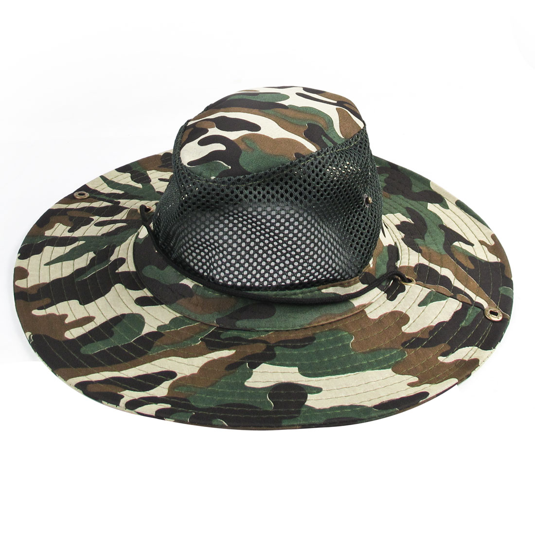 Outdoor Hiking Fishing Wide Brim Beige Green Camouflage Sun Hat for Men