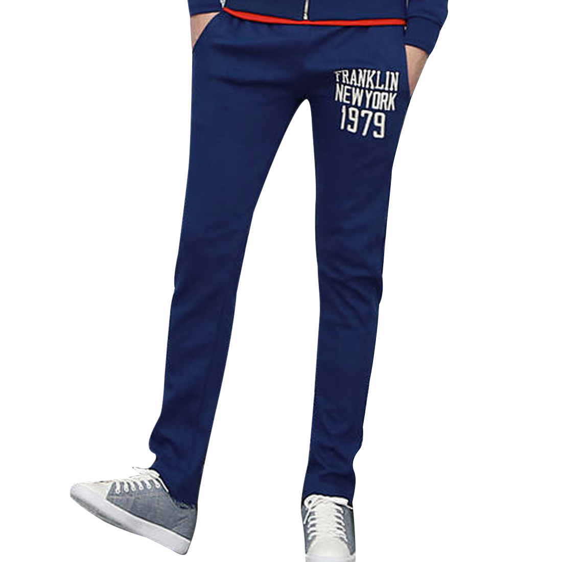 Men Chic Letters Printed Front One Hip Pocket Design Royalblue Pants W30